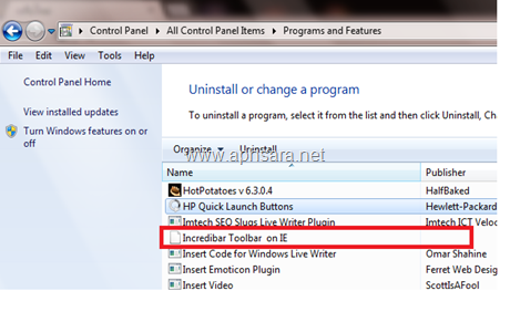 uninstall program Toolbar