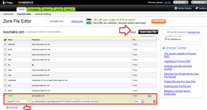ตั้งค่า dns manager ให้สามารถใช้งานร่วม blogger ใน godaddy